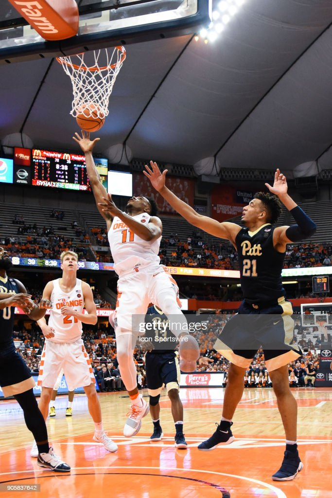 Oshae Brissett #11 of the Syracuse Orange shoots the ball during the second half of play between the Syracuse Orange and the Pittsburgh Panthers on January 16th, 2018 at the Carrier Dome in Syracuse, NY.