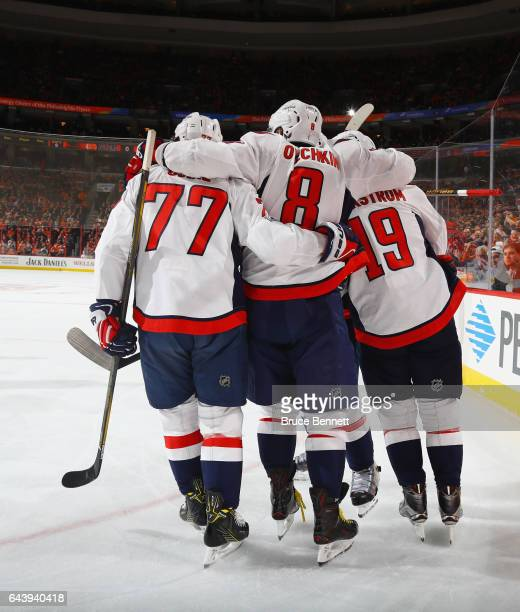 J Oshie Alex Ovechkin and Nicklas Backstrom of the Washington Capitals celebrate Backstrom's first period goal against the Philadelphia Flyers at the...