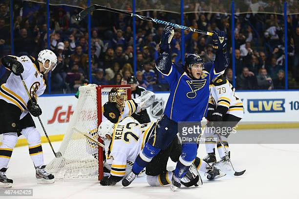 J Oshie of the St Louis Blues celebrates after scoring the gamewinning goal against the Boston Bruins at the Scottrade Center on February 6 2014 in...