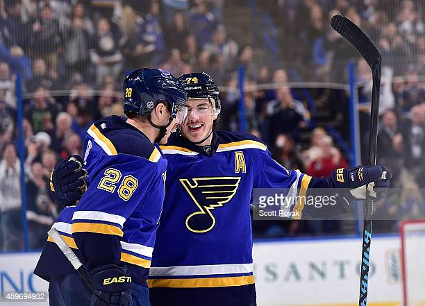 J Oshie of the St Louis Blues celebrates his goal with Ian Cole during a game against the Edmonton Oilers on November 28 2014 at Scottrade Center in...