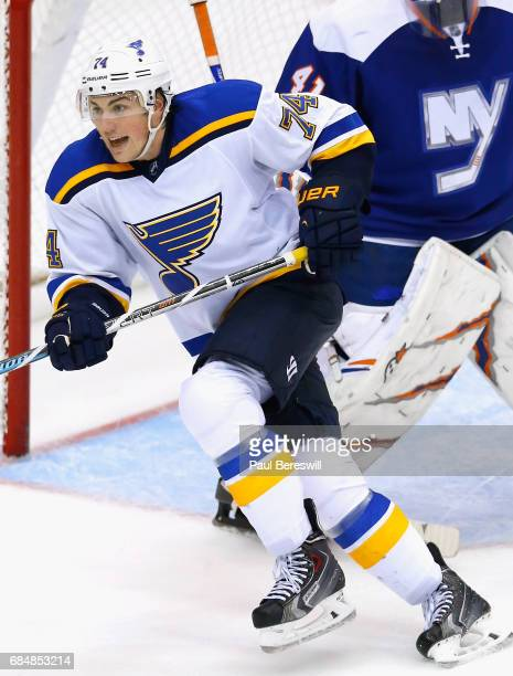 J Oshie of the St Louis Blues plays in the game against the New York Islanders at Nassau Veterans Memorial Coliseum on December 6 2014 in Uniondale...