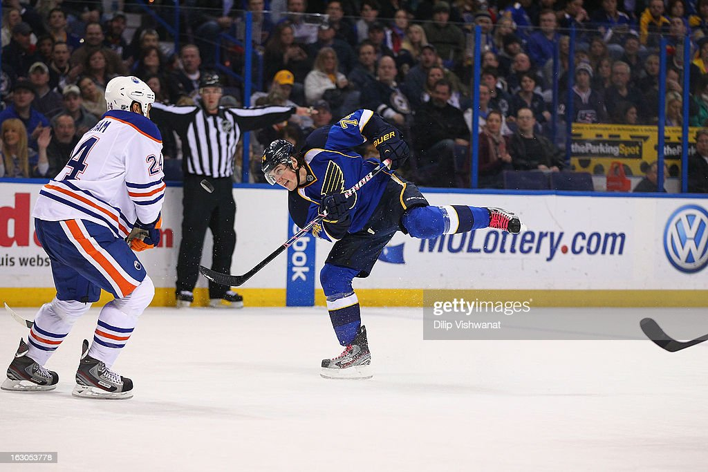 <a gi-track='captionPersonalityLinkClicked' href=/galleries/search?phrase=T.J.+Oshie&family=editorial&specificpeople=700383 ng-click='$event.stopPropagation()'>T.J. Oshie</a> #74 of the St. Louis Blues shoots the puck against the Edmonton Oilers at the Scottrade Center on March 1, 2013 in St. Louis, Missouri.