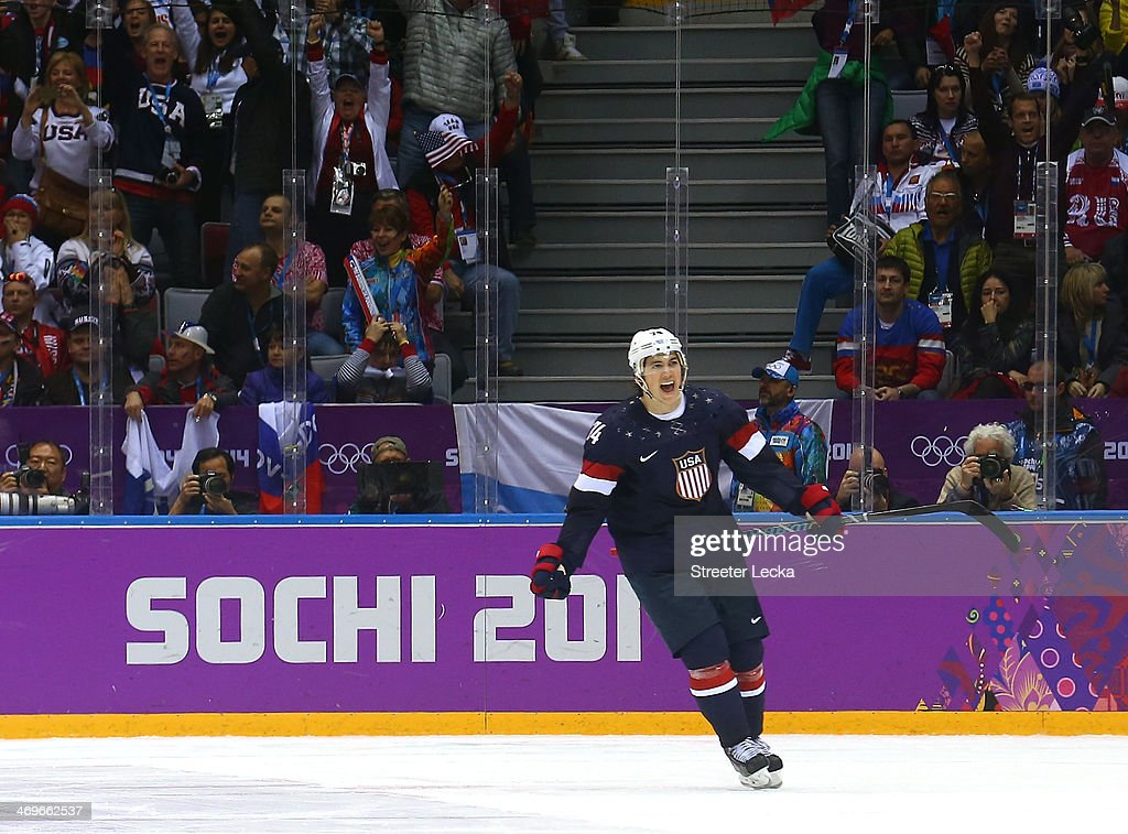 T.J. Oshie #74 of the United States celebrates after scoring on a shootout against Sergei Bobrovski #72 of Russia to win the Men's Ice Hockey Preliminary Round Group A game on day eight of the Sochi 2014 Winter Olympics at Bolshoy Ice Dome on February 15, 2014 in Sochi, Russia.