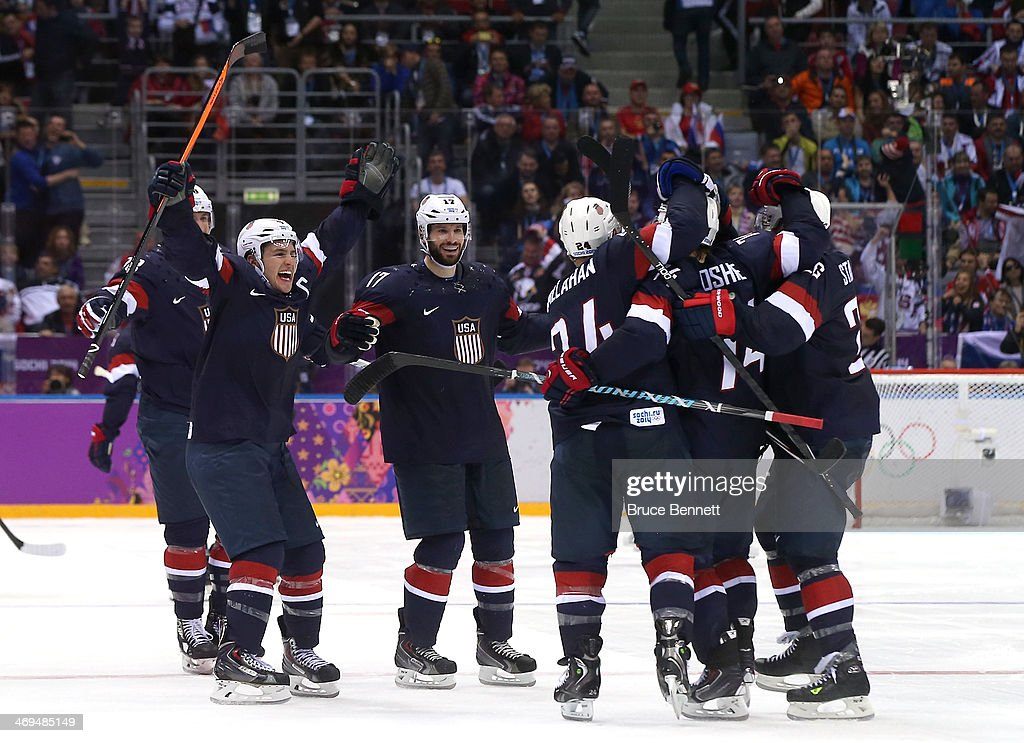 Calhan (CO) United States  city images : Oshie #74 of the United States celebrates with teammates Ryan Callahan ...