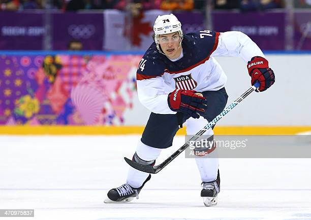 J Oshie of the United States skates during the Men's Ice Hockey Semifinal Playoff against Canada on Day 14 of the 2014 Sochi Winter Olympics at...