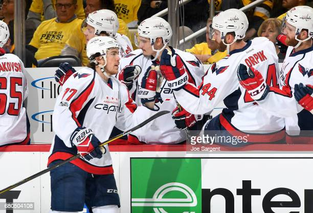 J Oshie of the Washington Capitals celebrate his first period power play goal against the Pittsburgh Penguins in Game Six of the Eastern Conference...