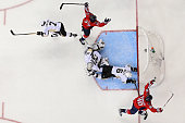 J Oshie of the Washington Capitals celebrates a goal in front of goalie Matt Murray of the Pittsburgh Penguins during the second period in Game Five...