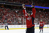 J Oshie of the Washington Capitals celebrates after scoring the game winning goal to give the Capitals a 43 overtime win against the Pittsburgh...