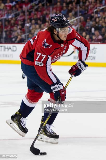 J Oshie of the Washington Capitals controls the puck against the Toronto Maple Leafs in the first period at Capital One Arena on October 17 2017 in...
