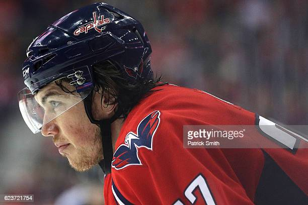 J Oshie of the Washington Capitals looks on against the Pittsburgh Penguins during the second period at Verizon Center on November 16 2016 in...