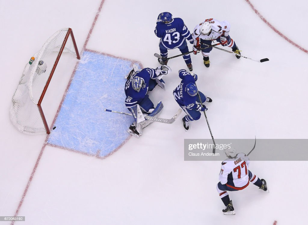 T.J. Oshie #77 of the Washington Capitals misses a shot against Frederik Andersen #31 of the Toronto Maple Leafs in Game Six of the Eastern Conference Quarterfinals during the 2017 NHL Stanley Cup Playoffs at the Air Canada Centre on April 23, 2017 in Toronto, Ontario, Canada. The Capitals defeated the Maple Leafs 2-1 in overtime to win series 4-2.
