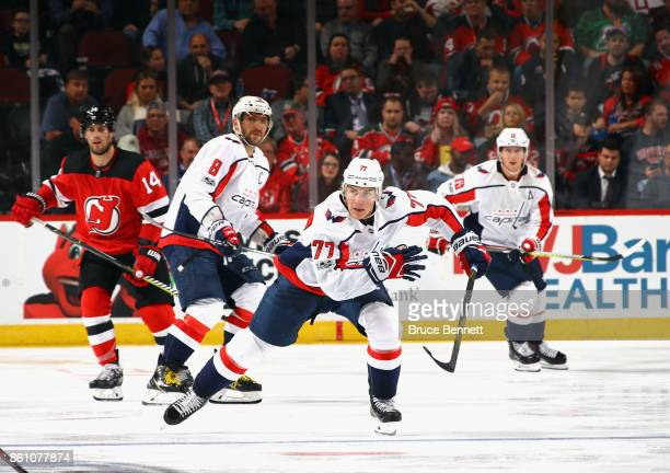 J Oshie of the Washington Capitals skates against the New Jersey Devils at the Prudential Center on October 13 2017 in Newark New Jersey The Capitals...
