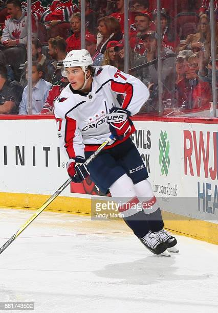 J Oshie of the Washington Capitals skates against the New Jersey Devils during the game at Prudential Center on October 13 2017 in Newark New Jersey