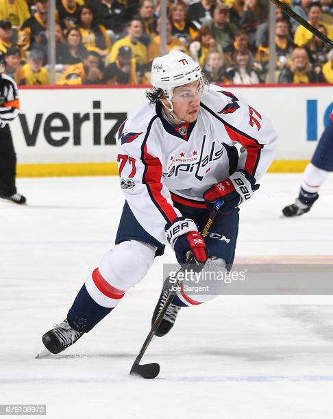 J Oshie of the Washington Capitals skates against the Pittsburgh Penguins in Game Four of the Eastern Conference Second Round during the 2017 NHL...