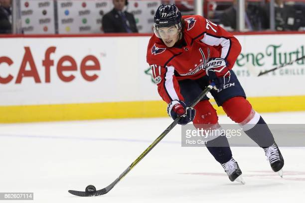 J Oshie of the Washington Capitals skates with the puck against the Toronto Maple Leafs at Capital One Arena on October 17 2017 in Washington DC
