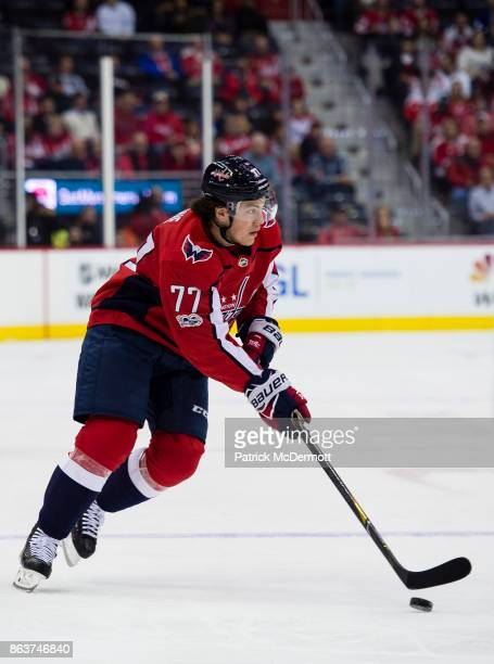 J Oshie of the Washington Capitals skates with the puck against the Toronto Maple Leafs in the first period at Capital One Arena on October 17 2017...