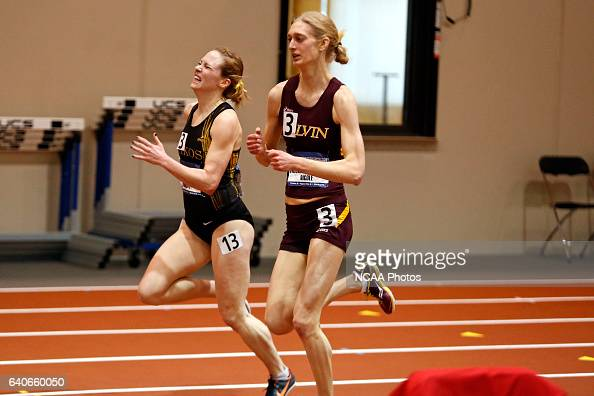 Oshkosh's Christy Cazzola passes Calvin College's Nicole Michmerhuizen on the final stretch of 5000 Meter Run at the Division III Men's and Women's...