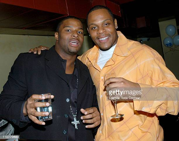 Osi Umenyiora and Visanthe Shiancoe during Osi Umenyiora's Birthday Party at Romi in New York City New York United States