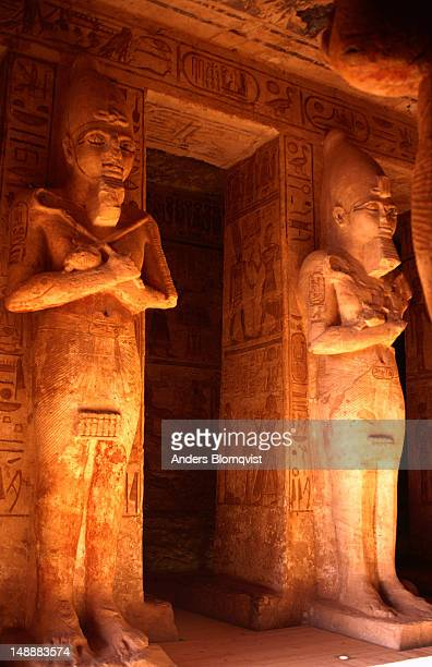 Osirid statues of Ramesses inside  Hypostyle Hall leading to sanctuary at the Great Temple of Abu Simbel.