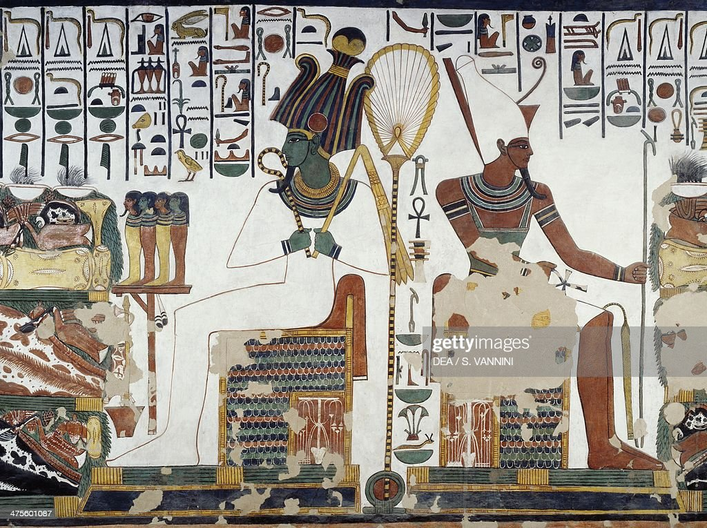 Osiris and Atun detail of the frescoes in the second chamber of the Tomb of Nefertari Valley of the Queens Luxor Thebes Egyptian civilisation New...