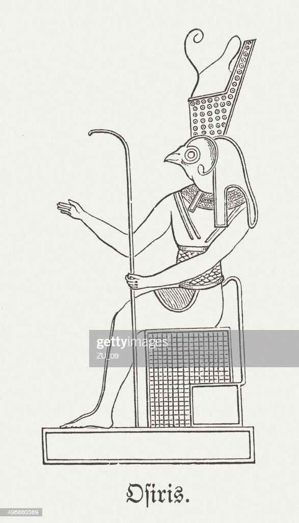 Osiris, egyptian god of the afterlife, wood enfraving, published 1881