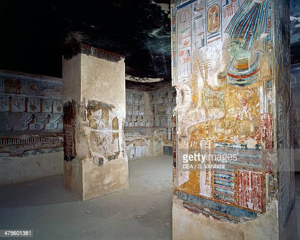 Osiris enthroned fresco hall of tenders Tomb of Seti I Valley of the Kings Thebes Egyptian civilisation New Kingdom Dynasty XIX