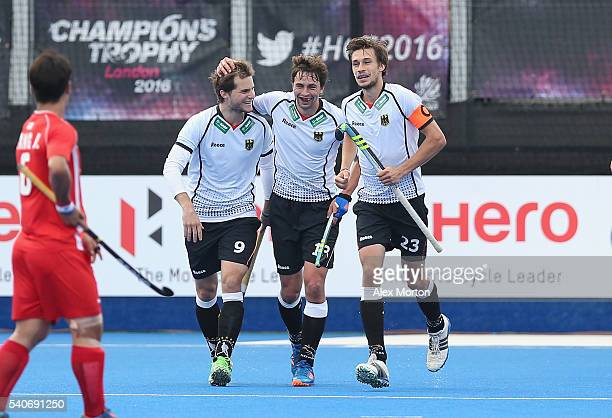 Oskar Deecke of Germany celebrates scoring their third goal during the FIH Mens Hero Hockey Champions Trophy match between Korea and Germany at Queen...