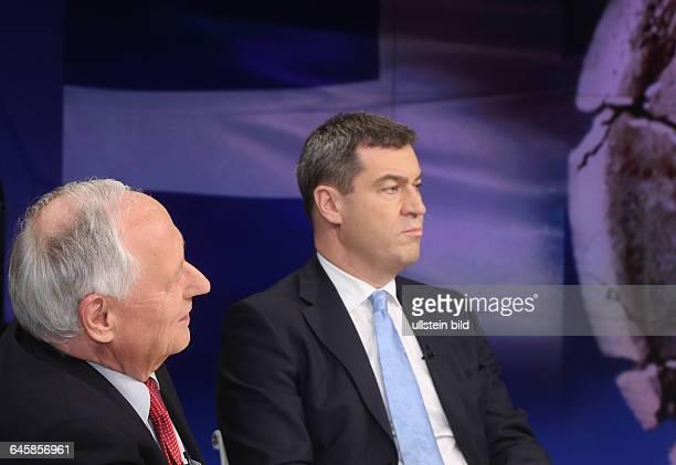 Oskar Lafontaine mit Markus Söder in der ZDFTalkshow 'Maybrit_Illner' am in BerlinThema der Sendung Athen gegen alle Scheitert der Euro