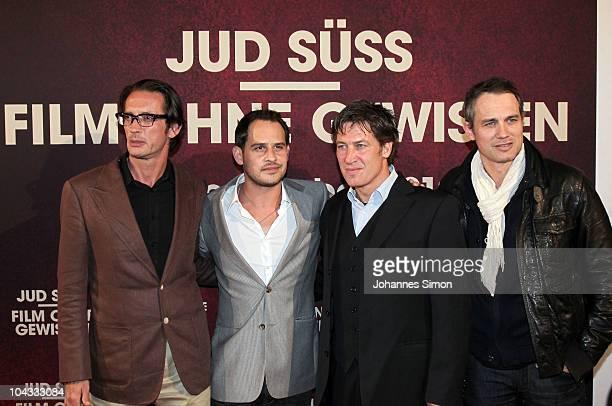 Oskar Roehler Moritz Bleibtreu Tobias Moretti and Ralf Bauer attend the Premiere of the movie 'Jud Suess Film ohne Gewissen' on September 21 2010 in...