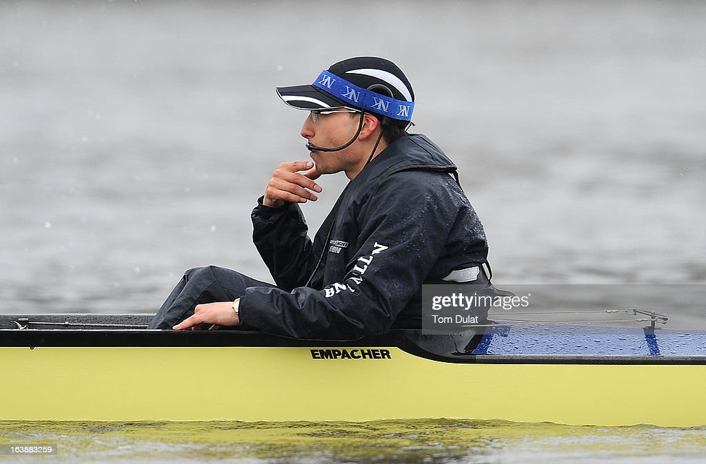 Oskar Zorrilla (Cox) looks on during the training race against German Eight on the River Thames on March 17, 2013 in London, England.