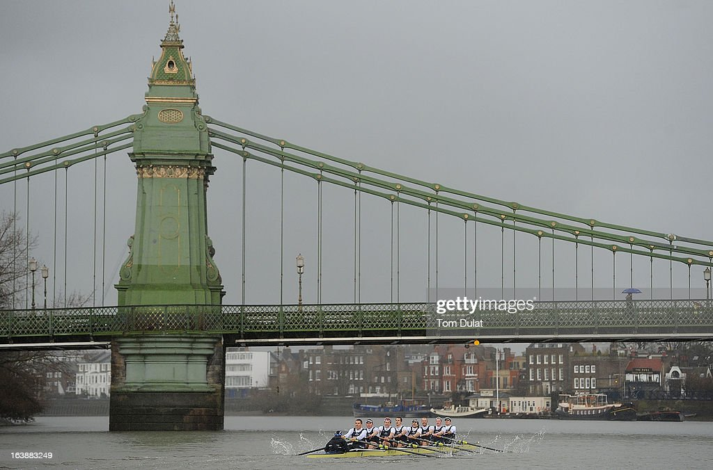 Oskar Zorrilla (Cox), Malcolm Howard (Stroke), Constantine Louloudis, Karl Hudspith, Paul Bennett, Sam O'Connor, Alex Davidson, Geordie Macleod and Patrick Close (Bow) of The Oxford Blue Boat in action during the training race against German Eight on the River Thames on March 17, 2013 in London, England.
