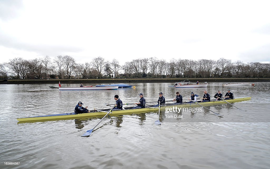 Oskar Zorrilla (Cox), Malcolm Howard (Stroke), Constantine Louloudis, Karl Hudspith, Paul Bennett, Sam O'Connor, Alex Davidson, Geordie Macleod and Patrick Close (Bow) of The Oxford Blue Boat prior to their training race against German Eight on the River Thames on March 17, 2013 in London, England.