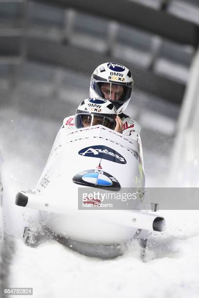 Oskars Kibermanis Matiss Miknis of Latvia compete in the 2man Bobsleigh during the BMW IBSF World Cup Bob Skeleton PyeongChang Presented by JIN AIR...