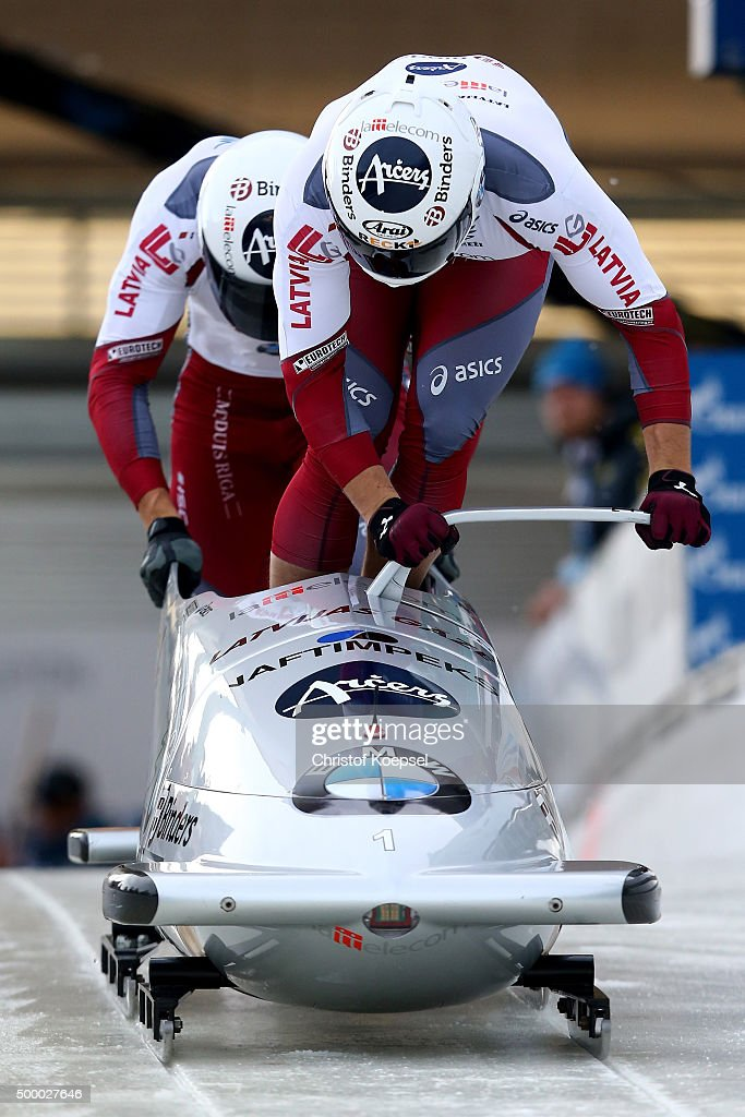 Oskars Melbardis and Daumants Dreisekens of Latvia compete in their first run of the two men's bob competition during the BMW IBSF Bob & Skeleton Worldcup at Veltins Eis-Arena on December 5, 2015 in Winterberg, Germany.