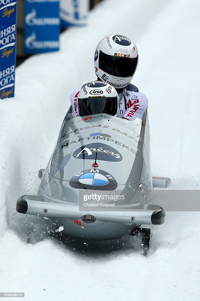 Oskars Melbardis and Daumants Dreisekens of Latvia compete in their second run of the two men's bob competition during the BMW IBSF Bob & Skeleton Worldcup at Veltins Eis-Arena on December 5, 2015 in Winterberg, Germany.