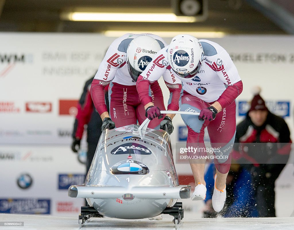 Oskars Melbardis and Daumants Dreiskens of Latvia compete during two-men Bobsleigh 1st run of Bobsleigh and Skeleton World Championships in Innsbruck Igls, Austria, on February 13, 2016. / AFP / APA / EXPA/JOHANN GRODER / Austria OUT
