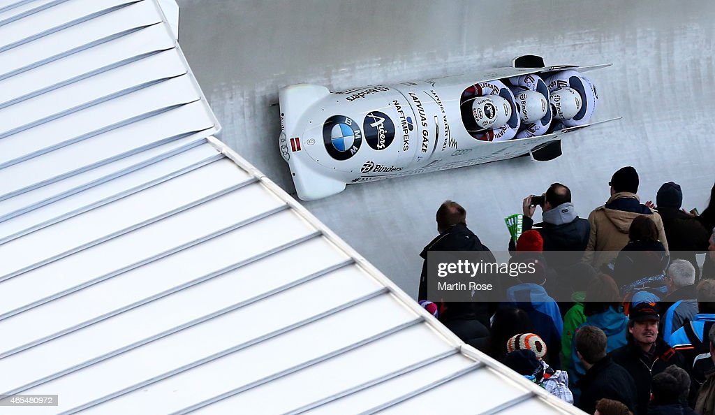 Oskars Melbardis, Daumants Dreiskens, Arvis Vilkaste and Janis Strenga of Latvia compete in their first run of the four man bob competition during the FIBT Bob & Skeleton World Cup at Bobbahn Winterberg on March 7, 2015 in Winterberg, Germany.