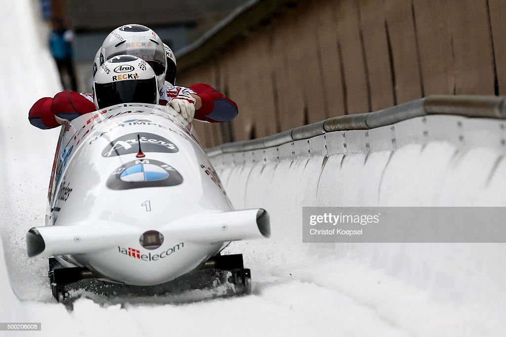 Oskars Melbardis, Matiss Miknis, Arvis Vilkaste and Janis Strenga of Latvia compete in their second run of the four men's bob competition during the BMW IBSF Bob & Skeleton Worldcup at Veltins Eis-Arena on December 6, 2015 in Winterberg, Germany.