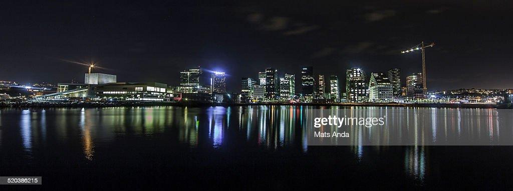 Oslo city skyline by night, Norway.