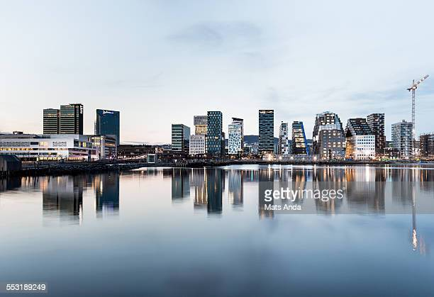 Oslo cityscape by night, Norway.