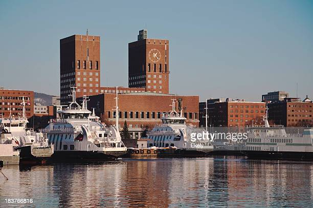 Oslo harbor  with ferries and Town Hall.