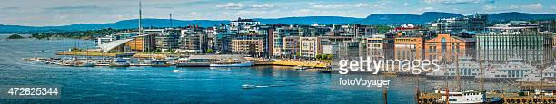 Oslo harbour waterfront Aker Brygge modern development cityscape panorama Norway