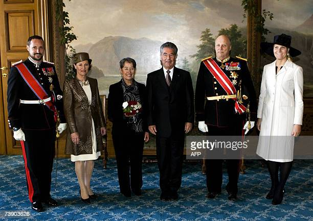 From L to R Crown Prince Haakon Queen Sonja wife of the Austrian President Margit Fischer Austrian President Heinz Fischer King Harald and Crown...