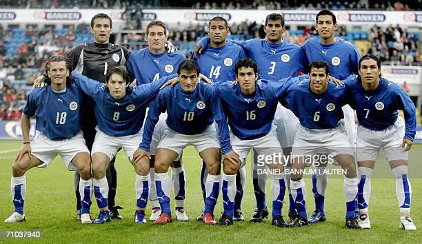 Paraguay team's Justo Villar Carlos Gamarra Paulo Da Silva Delio Toledo Julio Dos Santos Nelson Valdez Haedo Edgar Barreto Roberto Acuna Cristian...