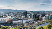 Magnificent panoramic view to Oslo Barcode and surroundings.