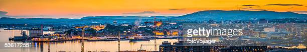 Oslo sunset cityscape super panorama over landmarks and harbour Norway