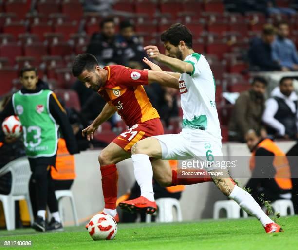 Osman Camdal of Galatasaray Feyyaz Belen of Sivas Belediyespor during the Turkish Cup match between Galatasaray v Sivas Belediyespor at the Türk...