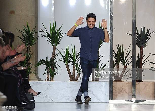 Osman Yousefzada makes an appearence after his show during London Fashion Week Fall/Winter 2015/16 at TopShop Show Space on February 23 2015 in...