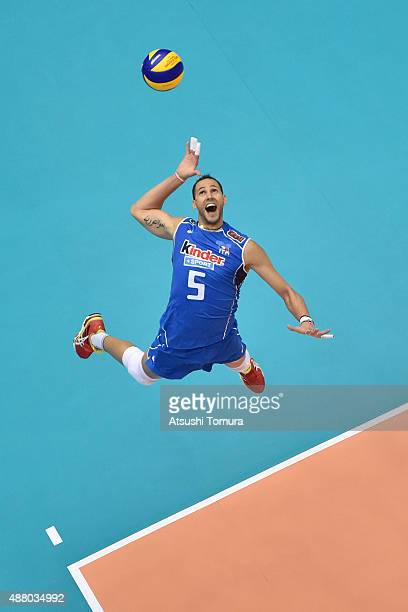 Osmany Juantorena of Italy serves in the match between Italy and Japan during the FIVB Men's Volleyball World Cup Japan 2015 at the Hiroshima Green...