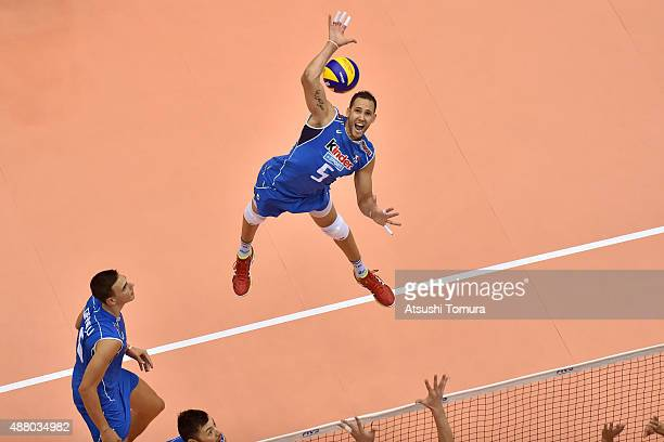 Osmany Juantorena of Italy spikes in the match between Italy and Japan during the FIVB Men's Volleyball World Cup Japan 2015 at the Hiroshima Green...